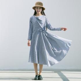 条纹拼接长袖纯棉连衣裙荡领系带