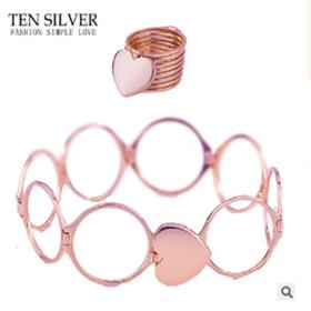 抖音伸缩戒指手镯可以变手链的两用爱心形网红女同款折叠黄金魔戒