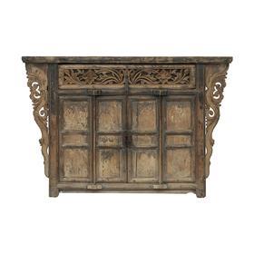 清晚期榆木中式古董家具一屉二门柜中号柜供桌QB17110035