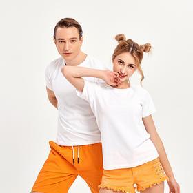 原创科技天然水果香橙味舒适精梳棉T恤 情侣款圆领短袖白T