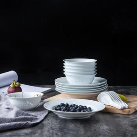 富玉 玉牡丹18头素玲珑餐具