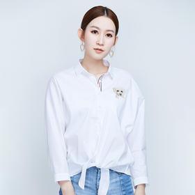 小狗刺绣全棉白衬衫