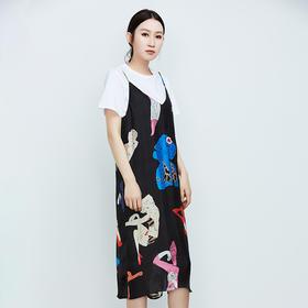 时尚真丝印花吊带裙