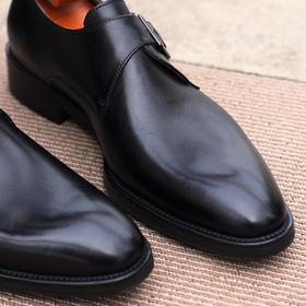 2018Eabri男士新款正装皮鞋黑色\棕色中圆头单扣\双扣孟克鞋