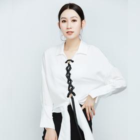 时尚前襟绑带长袖衬衫