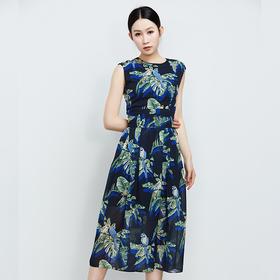 蓝花无袖腰间绑带连衣裙