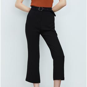 时尚圆扣腰带微喇裤