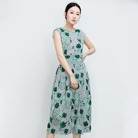 绿花无袖腰间绑带连衣裙