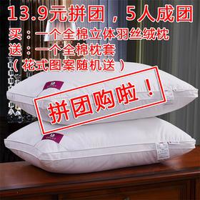 【枕芯】 纯棉 -买一个全棉立体羽丝绒枕 送一个全棉枕套(花式图案随机送)- 缔歌纺织