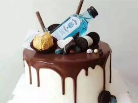 男士酒瓶生日蛋糕