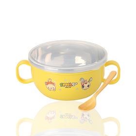 [2件更优惠]宝宝小碗不锈钢塑料防摔隔热辅食吃饭碗 颜色随机