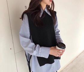 衬衫马甲韩版两件套