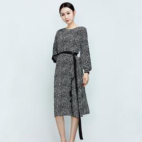 螺纹袖口真丝波点系带连衣裙