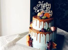 巧克力淋面蛋糕双层10+8寸