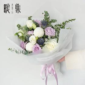 【荏苒】海洋之歌白色乒乓菊白玫瑰鲜花花束