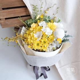 【原野雨声】黄小菊银叶菊白色乒乓菊鲜花花束