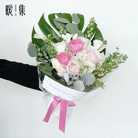 【独角兽】洋牡丹粉雪山龟背叶鲜花花束
