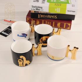 艺术礼品情人节情侣原创定制英国骨瓷镀金Hi杯办公室马克杯水杯