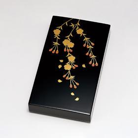 【枝垂樱】粂治郎日本越前漆器 砚盒砚匣 手描莳绘