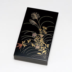 【秋草】粂治郎日本越前漆器 砚盒砚匣 手描莳绘