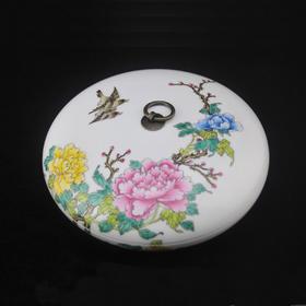 金品陶 粉彩茶饼盒-牡丹