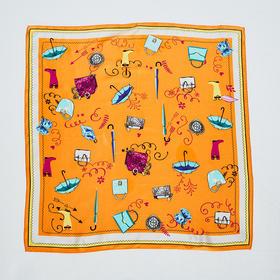 橘色雨具印花丝巾