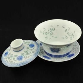 """富玉 """"牡丹""""盖碗 青花玲珑茶具"""