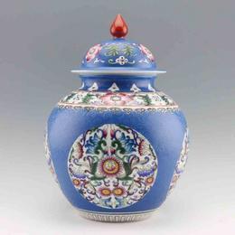 望龙 宝石兰珐琅彩瓶
