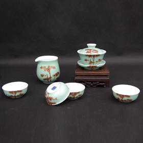 宝瓷林 手绘豆青加彩红竹蹲式杯6头茶具 高温颜色釉加彩