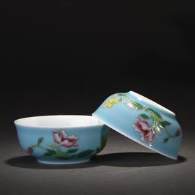 宝瓷林 手绘天青加彩蹲式杯6头茶具 高温颜色釉加彩