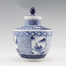 望龙 山水尖顶茶叶罐仿古罐