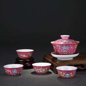 宝瓷林 手绘扒花八宝小鸡缸杯5头茶具(红底 湖水绿)