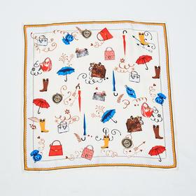 白色雨具印花丝巾