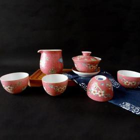 宝瓷林 手绘红底扒花加彩花卉小罗汉杯6头茶具