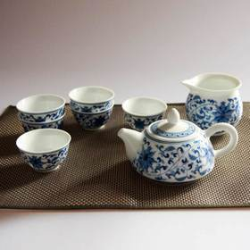 玉柏 手绘8头青花缠枝连茶具