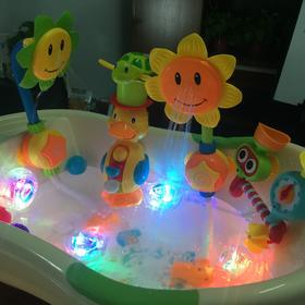 宝宝洗澡玩具向日葵花洒喷水电动儿童花洒 婴儿戏水玩具