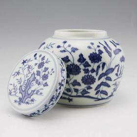 望龙 青花花卉盖罐(大明成化)仿古罐