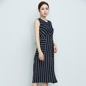条纹拼接无袖连衣裙