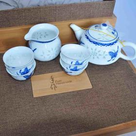 手作 手绘玲珑8头梦蝶茶具