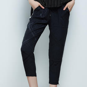 侧缝撞色装饰休闲小脚裤