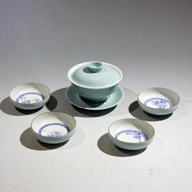 手作 一盖碗四杯套装梅兰竹菊