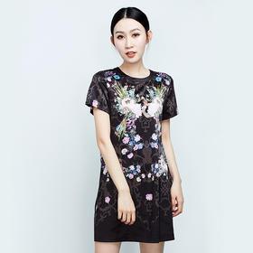 抽象印花短袖连衣裙
