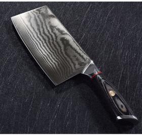 【新中式菜刀】总厨的档次从拥有一把顶级大马革士厨刀开始,大马革士钢中式精品菜刀!