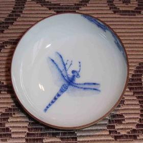手作 手绘颜色釉单杯 蜻蜓