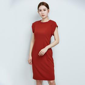 拉链装饰修身短袖连衣裙
