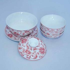 手作 手绘红釉缠枝牡丹盖碗套装