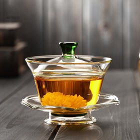 三才玻璃盖碗茶杯茶道功夫茶具花茶杯大号手抓功夫敬茶碗