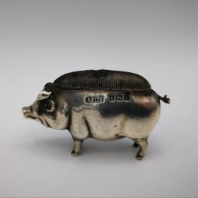 【菲集】1906年 银质小猪插针垫 针垫 艺术品 工艺品