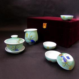 宝瓷林 玉兰杯6头茶具(豆青加彩兰花、明黄加彩荷花)