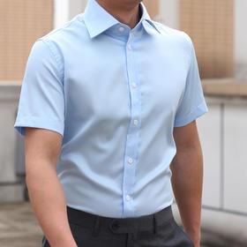 男士夏季纯棉方领短袖衬衫